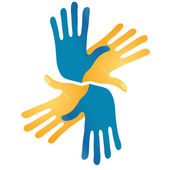 Abstract hands vector symbol — Stockvektor