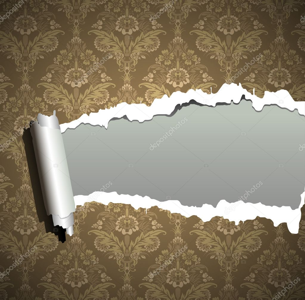 Frame wallpaper torn, vintage baroque background. Seamless vector — Stock Vector #6958369