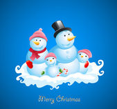Christmas vector background. Happy snowman — Stock Vector