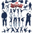 Dance persons, breakdance vector hip hop graffiti — Stock Vector
