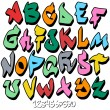 Stock Vector: Graffiti font alphabet