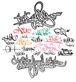 Graffiti tags urban signature — Vector de stock