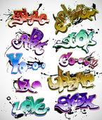 Grafiti kentsel sanat vektör set — Stok Vektör