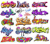 Graffiti urban art vector set — Stok Vektör