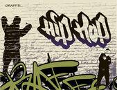 Graffiti wall and hip hop person — Stock Vector