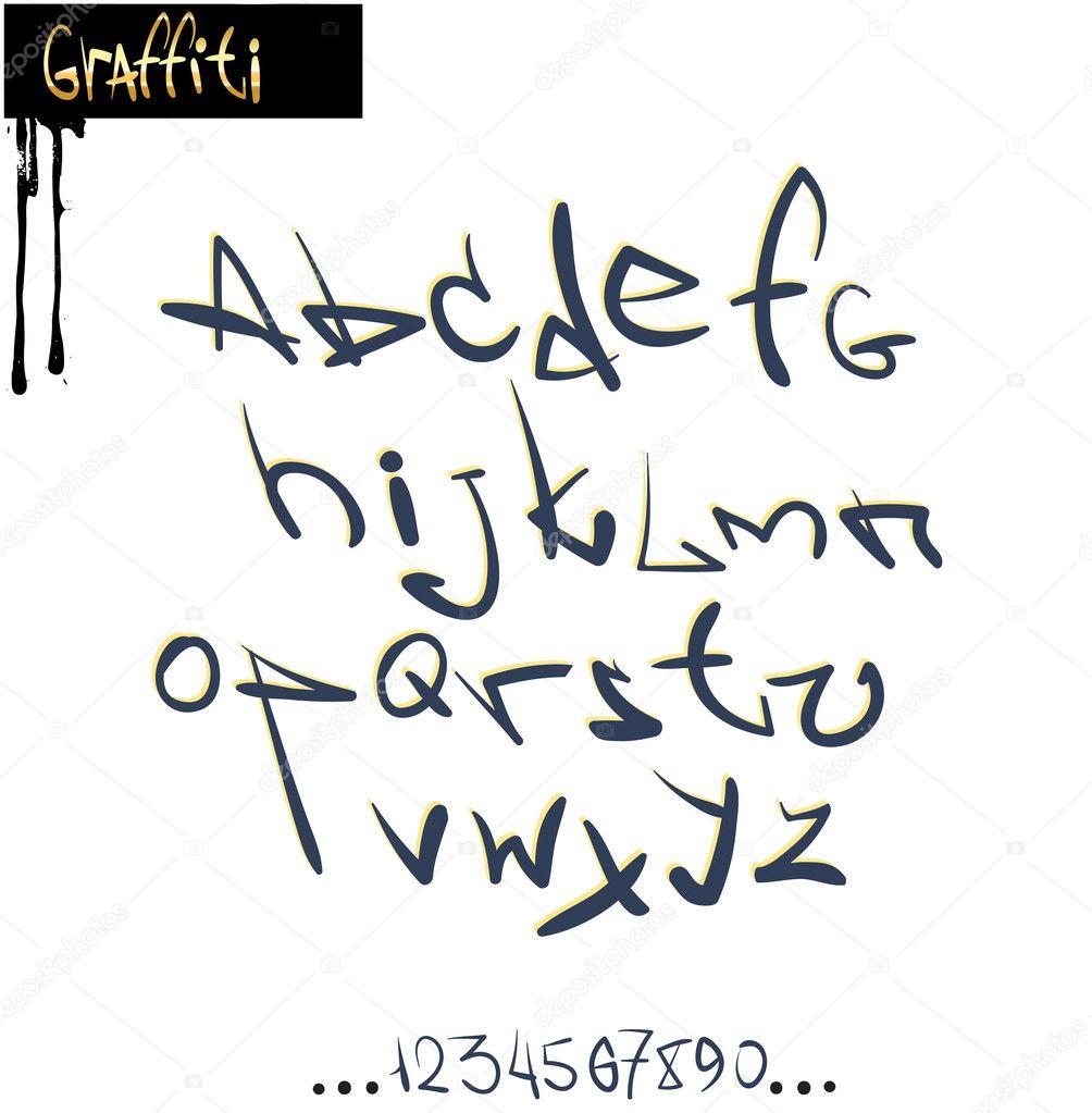 Graffiti font alphabet abc letters stock illustration