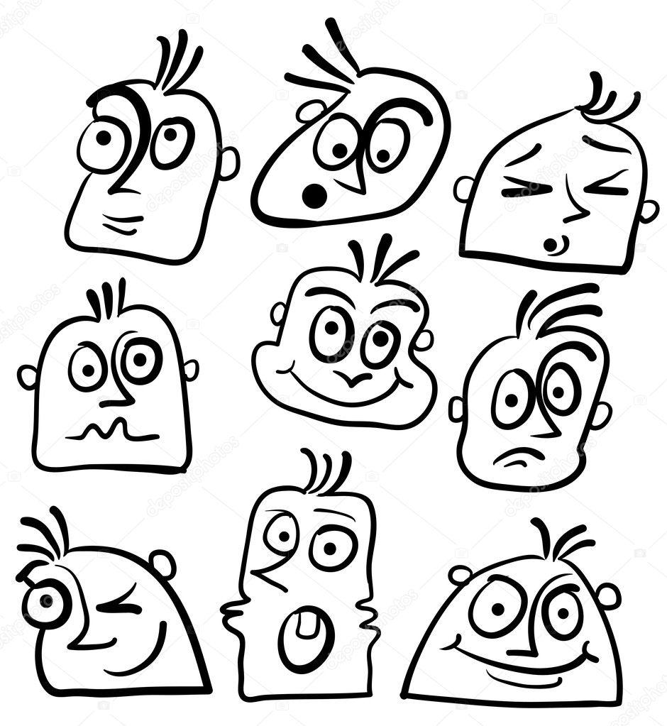Cartoon Crazy Face Crazy Cartoon Face Vector by