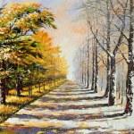 Allegory on theme winter-autumn — Stock Photo
