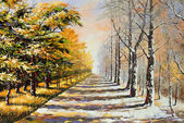 Allegory on theme winter-autumn — Stock Photo