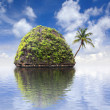 Beautiful island with a palm tree at ocean, Thailand — Stock Photo