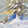 Fir-tree in snow. A picture drawn by oil — Stock Photo #7579959
