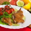 Roast chicken with salad and tomatoes — Stock Photo
