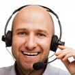 Business man with headphones — Stock Photo