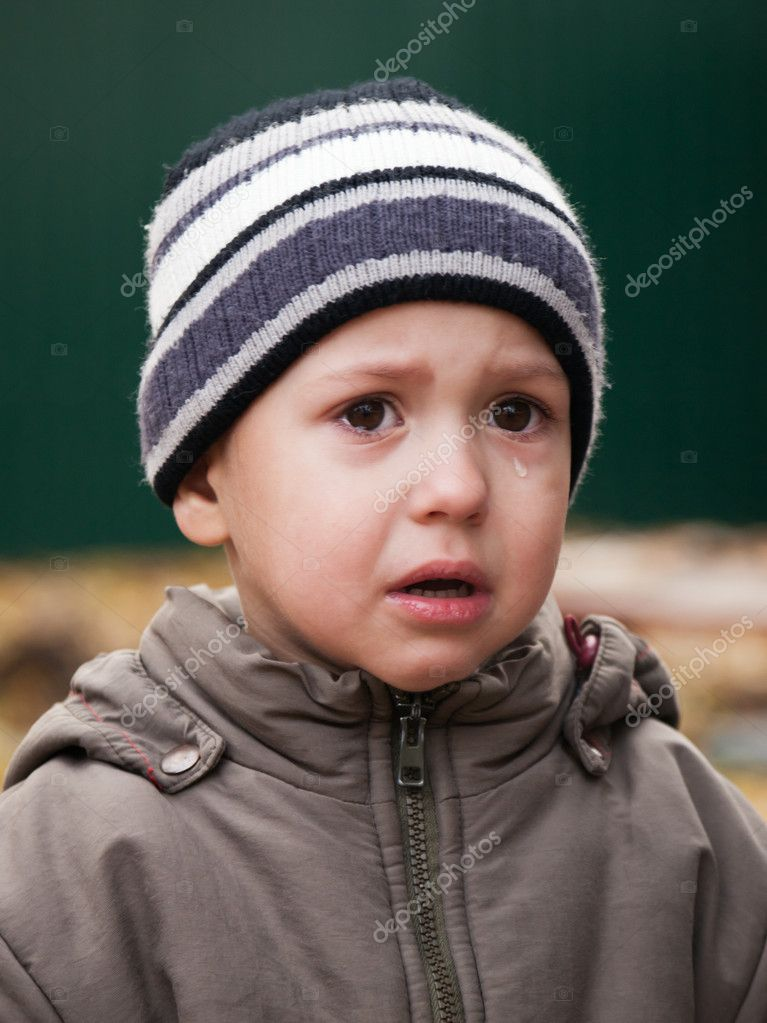 Little child crying with tear on face — Stock Photo #7523668