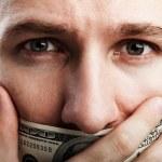 Dollar money gag shut voiceless man — Stock Photo #7554027