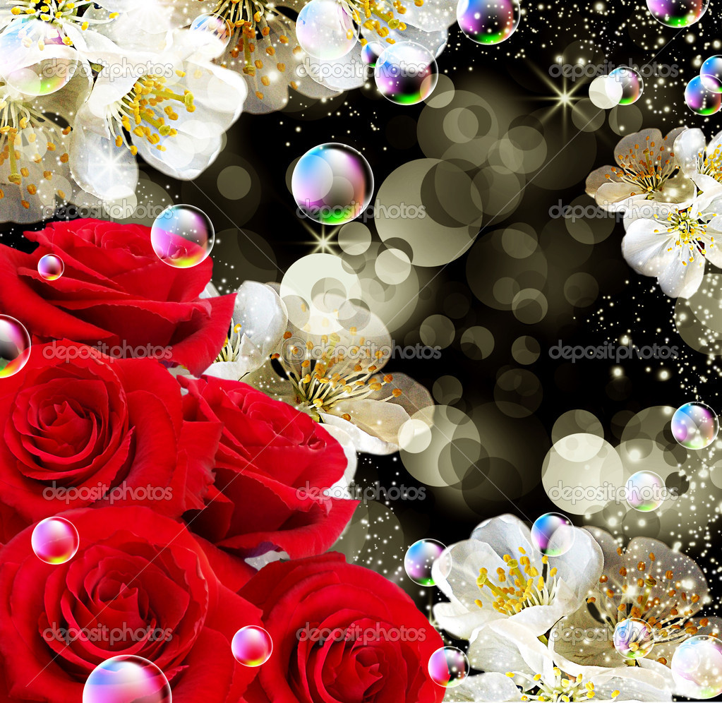 Card with red roses    Stock Photo #6870085