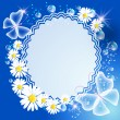Background with daisy, butterfly and frame - Stock Vector