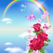 Rainbow and roses — Stock Vector #6953252