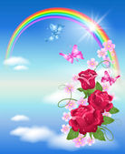 Rainbow and roses — Stock Vector