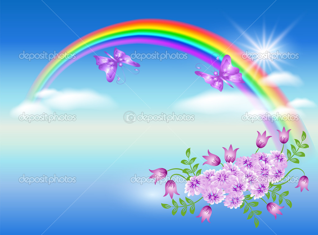 Rainbow, clouds, flowers and butterfly — Stock Vector #6952730