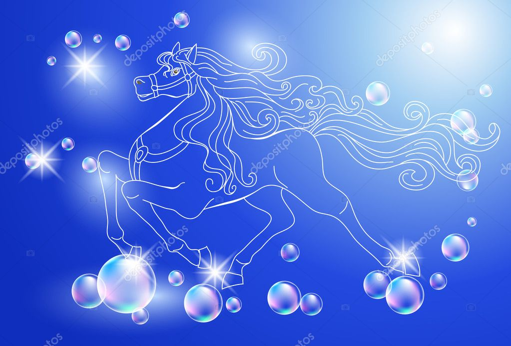 Background with white horse and stars — Stock Vector #6952850