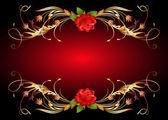 Golden frame wth rose — Stock Vector