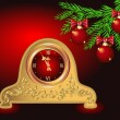 Christmas card with antique clock — Imagen vectorial