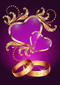 Wedding ring and two hearts — Stock Vector