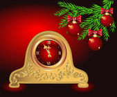 Christmas card with antique clock — 图库矢量图片