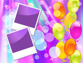 Balloons and photo frame — Vector de stock