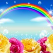 Stock Photo: Roses and rainbow