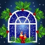 Kerst vensterventana de Navidad — Vector de stock