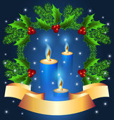 Christmas background with burning candle — Stockvector