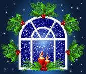 Christmas window — Stock Vector