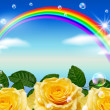 Roses and rainbow — Stock Photo
