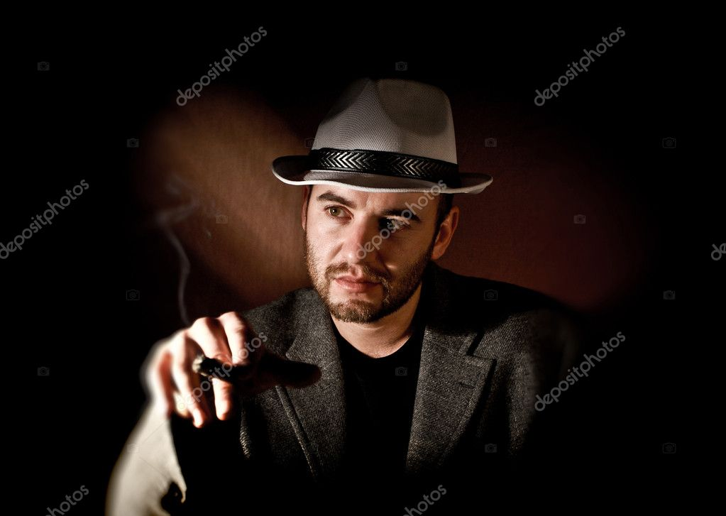 Fine portrait of caucasian gangster  Stock Photo #6992347