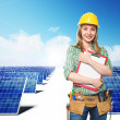 Engineer and solar panel — Stock Photo