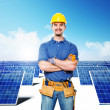 Smiling worker and solar power — Stock Photo
