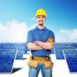Stock Photo: Smiling worker and solar power