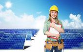 Engineer and solar panel — Stock Photo
