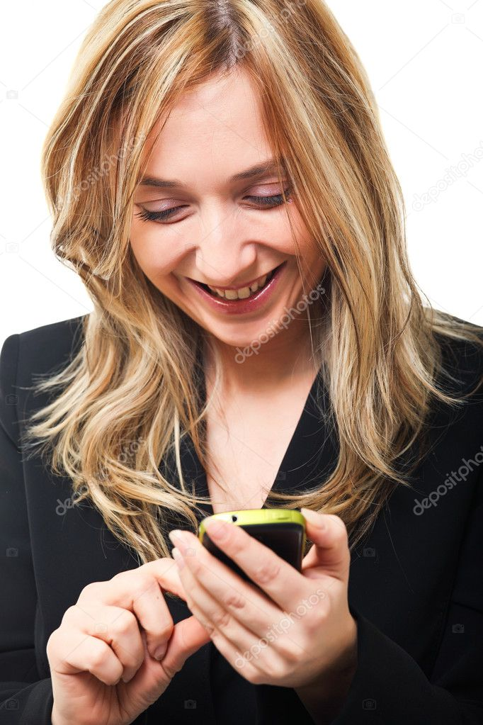 Blonde caucasian woman use mobile — Stock Photo #7944986