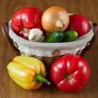 Fresh vegetables in baskets, tomatoes and pepper — Stock Photo #7064288