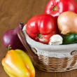 Harvest of fresh vegetables in basket — Stock Photo
