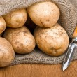 Stock Photo: Potatoes in burlap sack with rustic knife to clevegetab