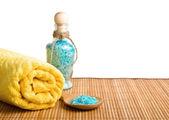 Towel, bath salt, the bamboo napkin — Stock Photo