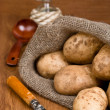 Potatoes in burlap sack with a rustic knife to clean the vegetab — Stock Photo