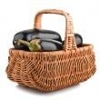 Stock Photo: Eggplants of black color in basket
