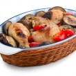 Delicious chicken with Eggplant - Stock Photo