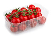 Red Cherry Tomatoes In Plastic tray — Stock Photo