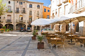 Empty cafe in the Besalu — Stock Photo
